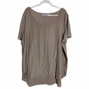 Ashley Nell Tipton 3X  tan glitter scoop neck top